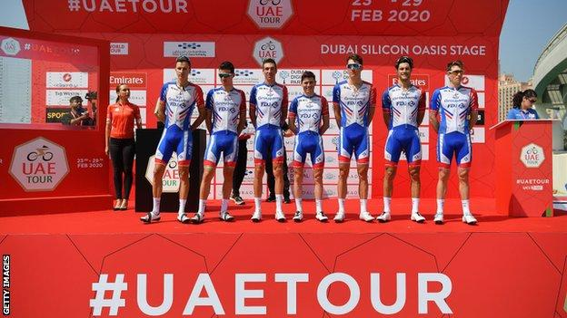 Groupama-FDJ before the first stage of the UAE Tour