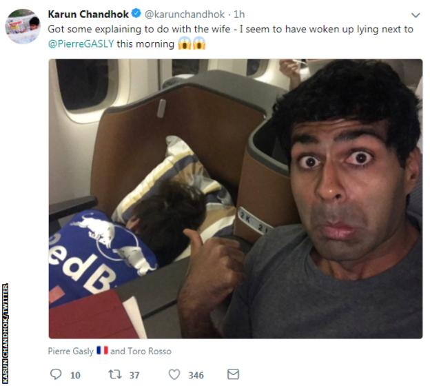 Former F1 driver Karun Chandhok tweeted this picture next to Toro Rosso's Pierre Gasly on a flight