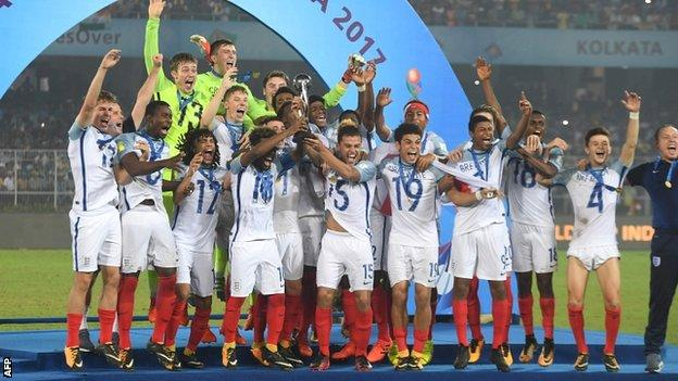 England's Under-17s celebrate winning the World Cup in India