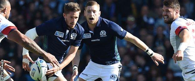 Henry Pyrgos (left) and Finn Russell in action for Scotland at the 2015 World Cup