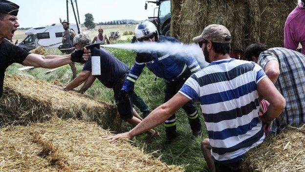 A picture showing a police officer spraying protesters during stage 16 of the Tour de France on Tuesday