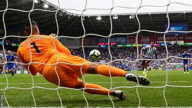 Picture of Cardiff keeper Neil Etheridge saving Newcastle midfielder Kenedy's stoppage-time penalty