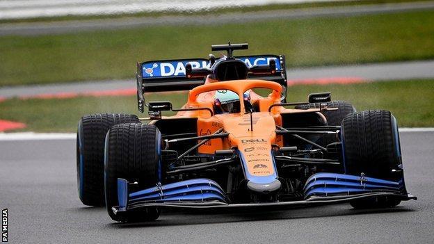 McLaren F1 of Daniel Ricciardo during the McLaren MCL35M track day at Silverstone