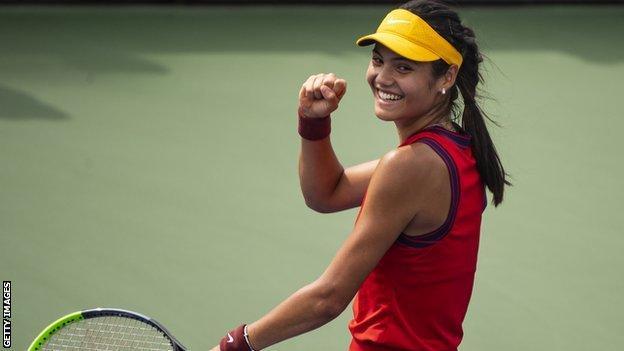 Emma Raducanu celebrates winning the US Open