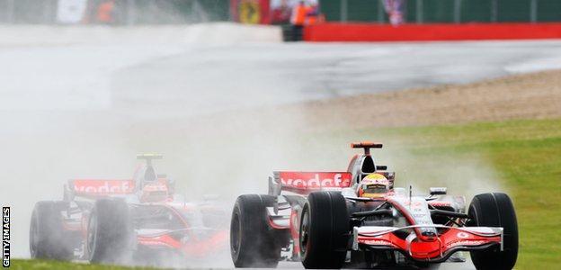 Lewis Hamilton leads McLaren team-mate Heikki Kovalainen during the British Grand Prix in 2008
