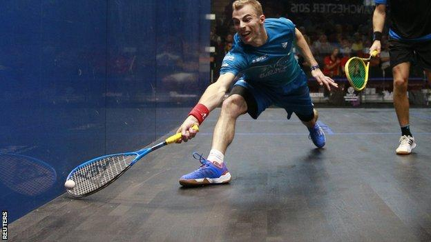 Nick Matthew playing in the British Grand Prix in Manchester