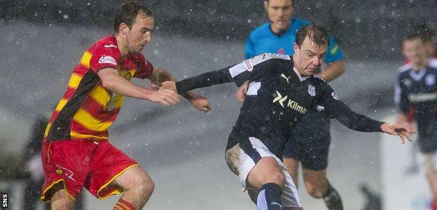 Stuart Bannigan moves in to challenge Dundee's Paul McGowan