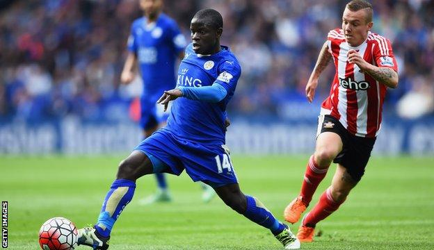 N'Golo Kante takes the ball away from Jordy Clasie