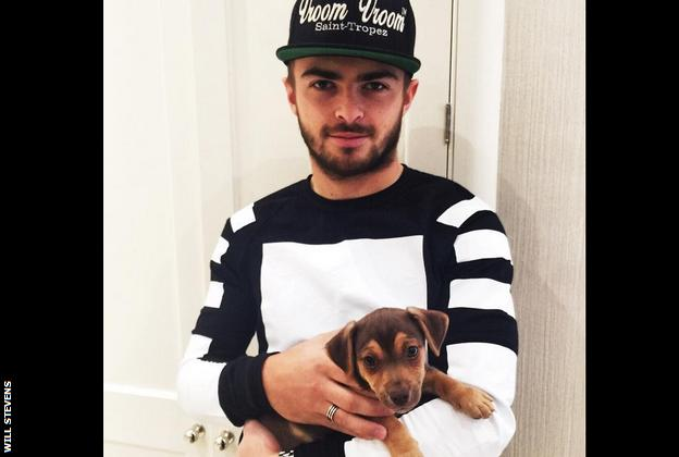 Will Stevens with his puppy