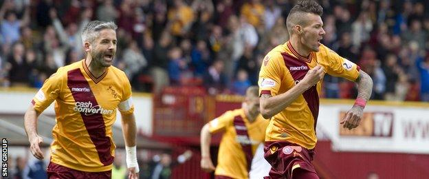 Marvin Johnson (right) celebrates his early goal for Motherwell