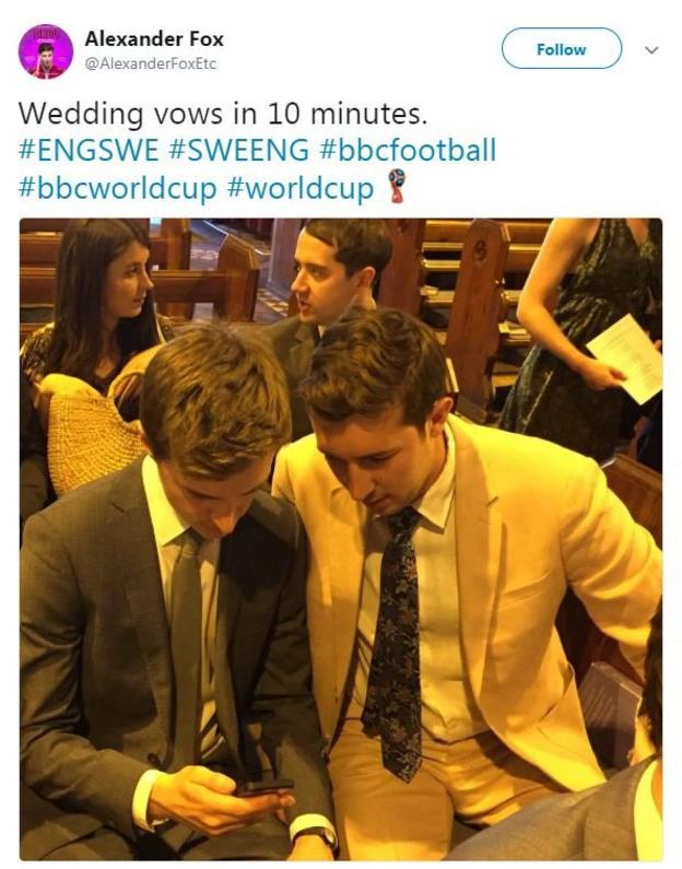 Wedding guests watch the England match