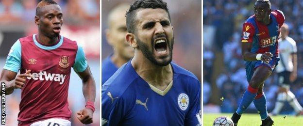West Ham's Diafra Sakho, Leicester's Riyad Mahrez and Crystal Palace's Yannick Bolasie
