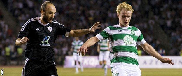 Gary Nackay-Steven in action for Celtic against Qarabag