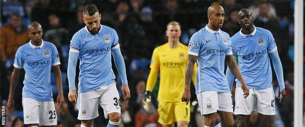 Manchester City players look frustrated