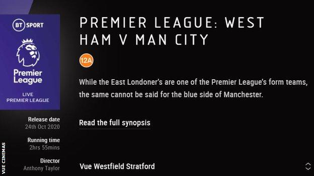 A Vue Cinemas advert trailing their venues screening West Ham v Manchester City in the Premier League