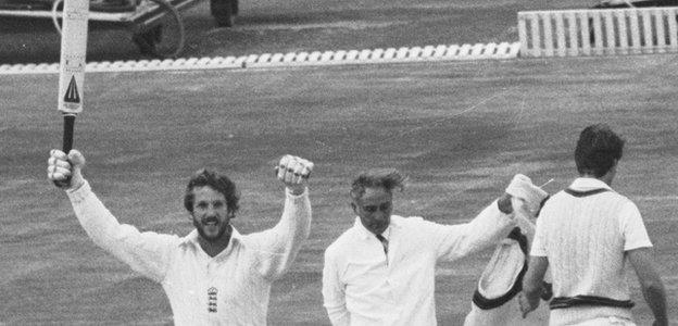 Ian Botham celebrates victory
