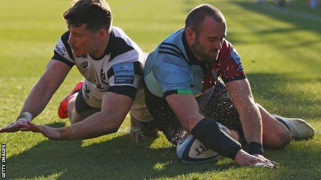 Ross Chisholm scores a try for Harlequins against Bristol