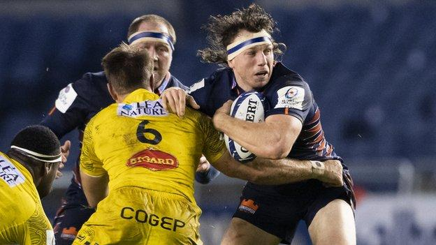 Hamish Watson in action in the Champions Cup tie between Edinburgh and La Rochelle