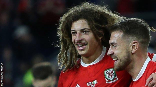 Ethan Ampadu and Aaron Ramsey celebrate for Wales