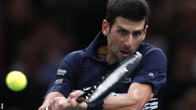 Novak Djokovic against Grigor Dimitrov in the Paris Masters