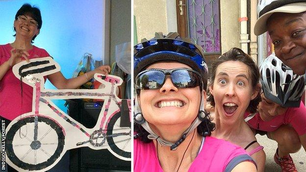 Indigo Kelly Forest in her school (left) and out with cycling friends (right)