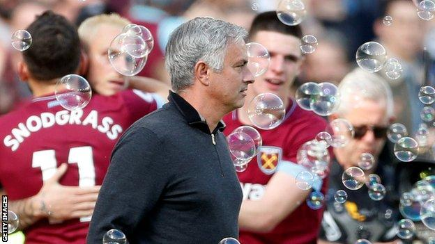 Man Utd manager Jose Mourinho at Upton Park