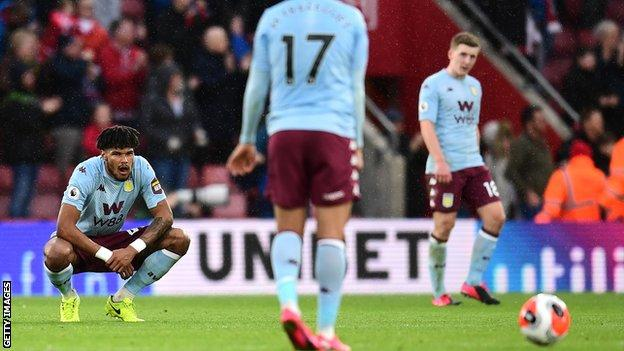 Tyrone Mings looking disappointed after Aston Villa's defeat at Southampton