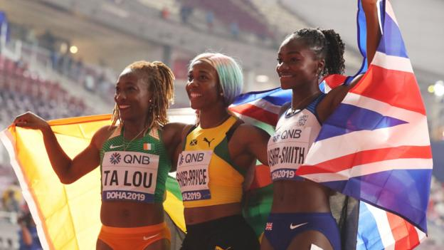 Dina Asher-Smith wins World Championships women's 100m silver; Shelly-Ann Fraser-Pryce takes gold