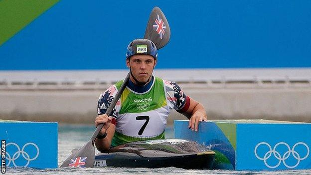 Joe Clarke waiting to compete in canoeing at Rio 2016
