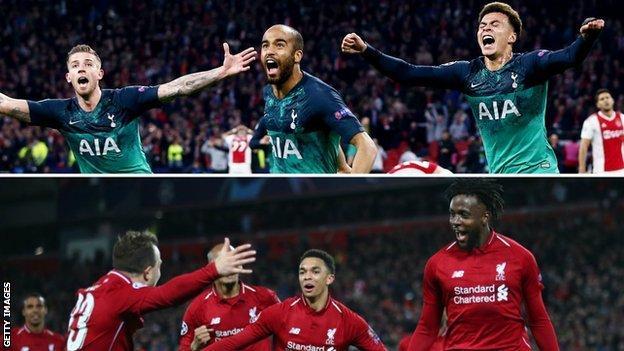 Tottenham celebrate their Champions League semi-final win (top) and Liverpool celebrate Tuesday's semi-final win
