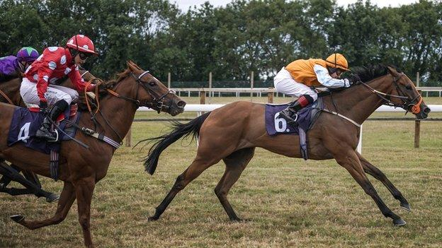 Sophie Ralston riding a winner at Bath