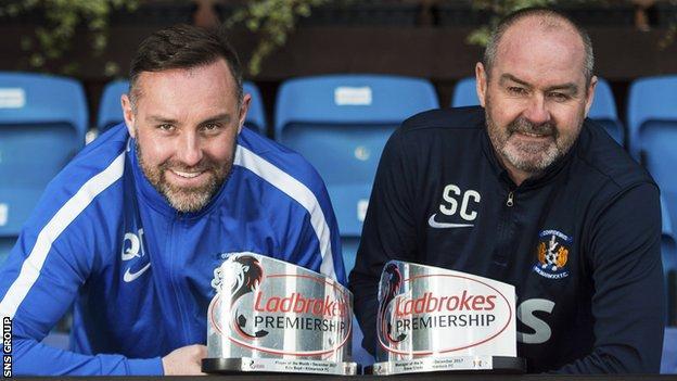 Kris Boyd and Steve Clarke show off their December awards