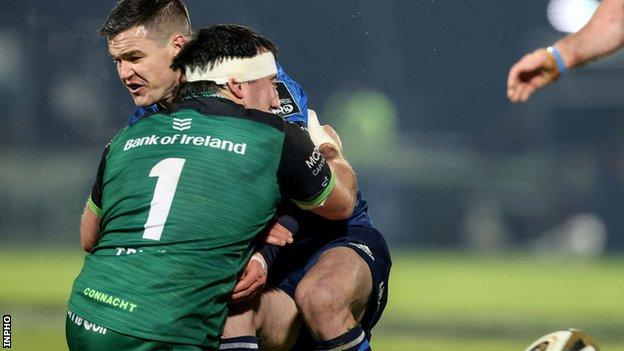 Johnny Sexton is tackled by Connacht's Denis Buckley in Saturday's game