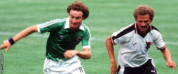 Martin O'Neill tries to keep pace with Herbert Prohaska when Northern Ireland faced Austria at the 1982 World Cup finals in Spain