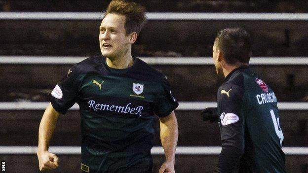 Raith Rovers' James Craigen (left) celebrates his winning goal