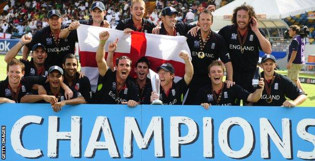 England celebrate their World Twenty20 triumph in 2010