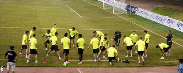 Celtic train on the much-criticised pitch in Baku
