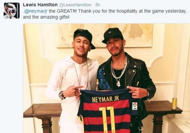 Lewis Hamilton with Neymar