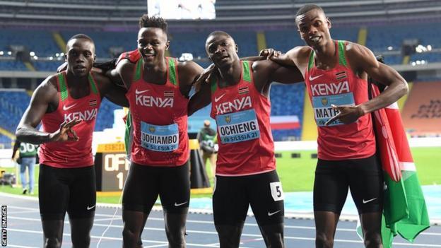 Kenya's 4x200m relay team of (from left to right) Mike Nyang'au, Mark Odhiambo, Hesborn Ochieng and Hesborn Ochieng
