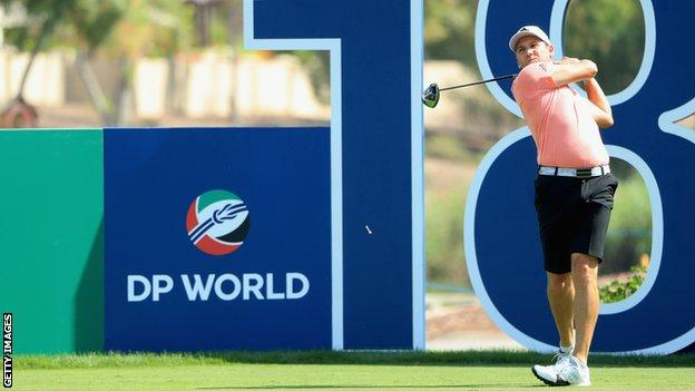 Sergio Garcia plays a tee shot on the 18th hole during the Pro-Am prior to the DP World Tour Championship