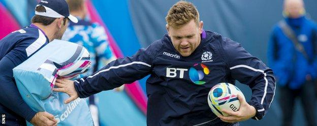 Kevin Bryce in training with Scotland