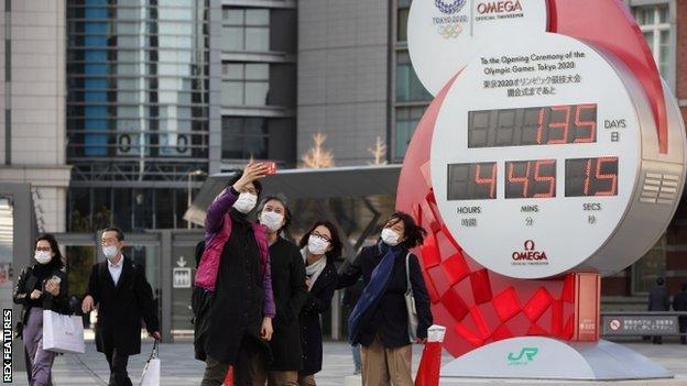 Tokyo 2020 countdown clock in Tokyo, Japan