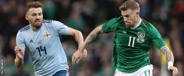Stuart Dallas, a star performer for Northern Ireland, in action against the Republic's James McClean