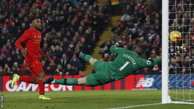 Daniel Sturridge watched on as Fraser Forster atoned for spilling Emre Can's shot by hooking the ball off the line