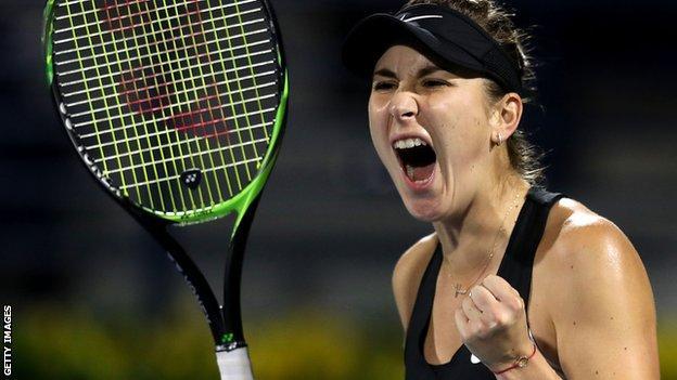 Belinda Bencic beats Simona Halep in Dubai