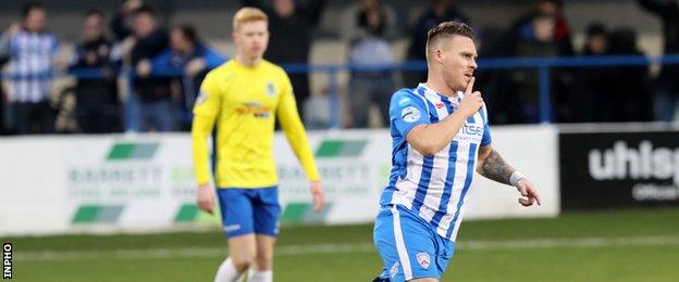Josh Carson was on target for Coleraine against Ballymena