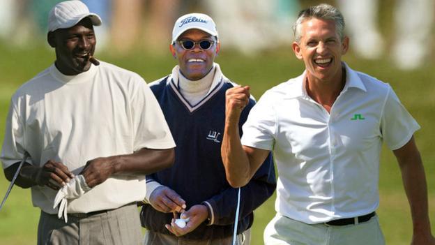 Michael Jordan (left), Samuel L Jackson (centre) and Gary Lineker