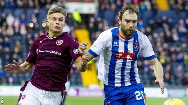 Hearts' Gavin Reilly (left) and Kilmarnock's Conrad Balatoni