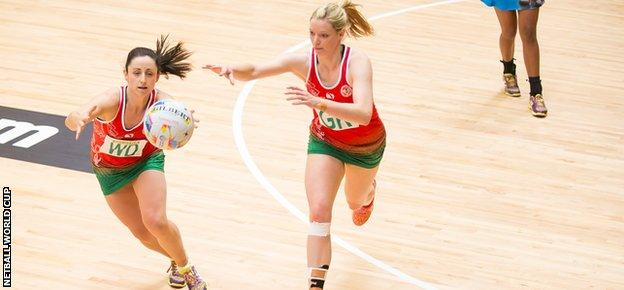 Suzy Drane (left) combines with vice-captain Rosie Pretorius during the opening win over Fiji