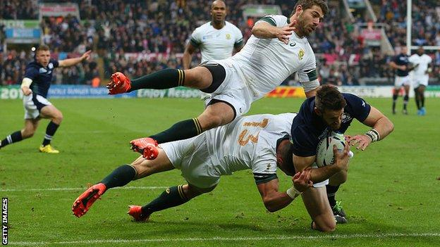 Scotland play South Africa at Rugby World Cup 2015